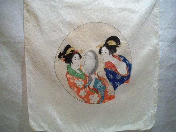 Vintage Japanese Silk Scarf, Japanese Geishas Looking in Mirror, 100% Silk