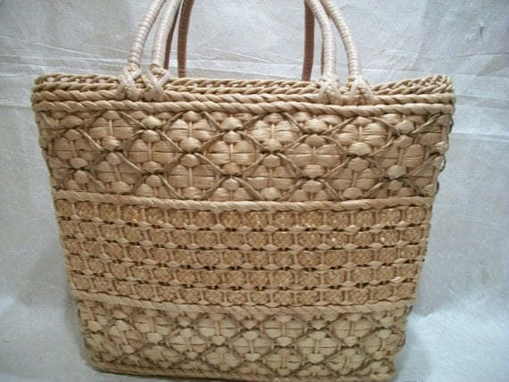 Large Woven Craft Basket Tote, Yarn Tote Basket, Woven Reed Basket Purse, Jute Basket Bag