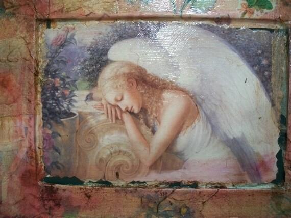 Decoupaged Music Box, Up Cycled Art, Jewelry Box, Angel Collage, Handmade Collage,