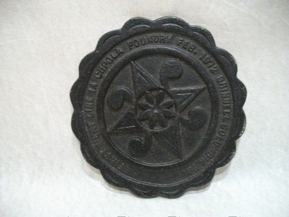 1972 Cupola Foundry Iron Trivet, Cast Iron Trivet, Unique Item, Grinnell Foundry, Columbia Pa