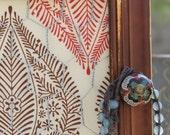 Framed Jewelry Display/Holder organizer memo board distressed rustic boho fabric