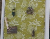 Hand Painted Framed Jewelry Display/Holder organizer memo board distressed boho green fabric