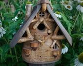 Natural Cottage Bird House made of Oregon Ash wood