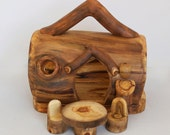 Real Log Gnome Home with Table and Chairs