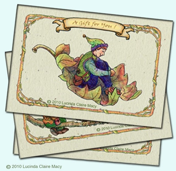 Whimsical gift tags, fairies, elves and wildlife