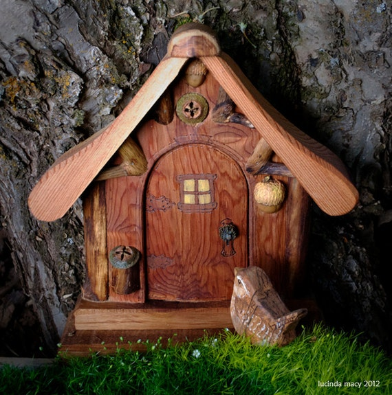 Rustic Gnome Door made from natural Cedar