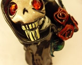 MUERTE figure Death Figurine Day of the Dead Collectible Dia De Los Muertos Sculpture altar piece art tattoo art rockabilly skull skeleton calavera roses etsydarkteam dark art death