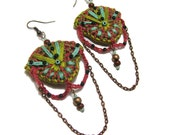 Crochet earrings tribal ethnic bright chartreuse coral turquoise embroidered