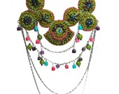 Folk Crochet Necklace tribal gipsy pink bright chartreuse purple mint green embroidered
