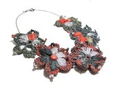 Crochet Flower Necklace grey gray coral peach titanium tangerine floral