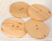 4 Big Round Juniper Wooden Buttons, about 2 1/2 inch