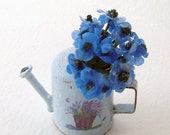 Blue watering can with anemones, shabby chic style in miniature,12th, one inch scale