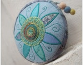 CUSTOM ORDER reserved for DEB Sunflower circular unique ornamented zipper pouch light blue and turquoise colours