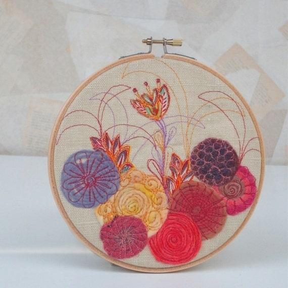 Fancy Flower Fiber Art Embroidery Hoop Wall Art By