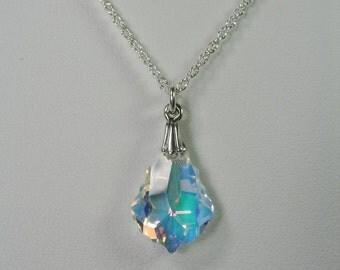 Bridesmaid Jewelry Bridal Necklace Swarovski Crystal Pendant Necklace - Bridesmaid Gift - Bridal Party Necklace Wedding Jewelry