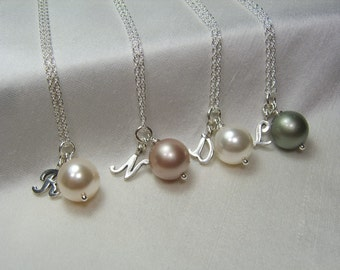 Bridesmaid Jewelry Set of 9 Personalized Bridesmaids Gifts Initial Necklace Bridesmaid Necklace Pearl Bridal Party Jewelry Wedding Jewelry