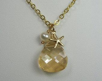 Gold Bridesmaid Jewelry Beach Wedding Necklace Starfish Pearl Swarovski Crystal Pendant Necklace Bridesmaid Necklace Beach Bridesmaid Gift