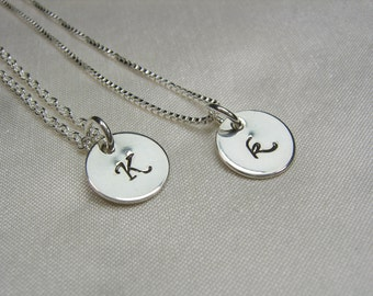 Bridesmaid Jewelry Personalized Bridesmaid Gift Set of 4 Sterling Silver Initial Necklace Bridesmaid Necklace Monogram Necklace Gifts