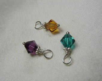 Add a large Swarovski birthstone crystal dangle to personalized initial necklace or other MesmericJewelry item