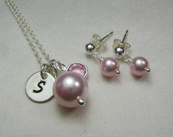 Junior Bridesmaid Jewelry Pearl Bridesmaid Necklace Earrings Flower Girl Jewelry Personalized Bridesmaid Gift Pink Wedding Jewelry