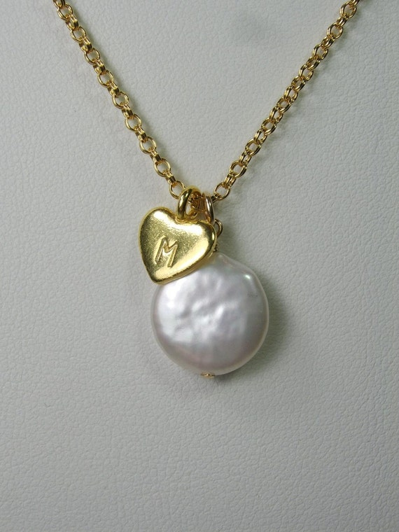 Gorgeous: Gold Handstamped Heart Charm Coin Pearl Necklace (Custom Initial)
