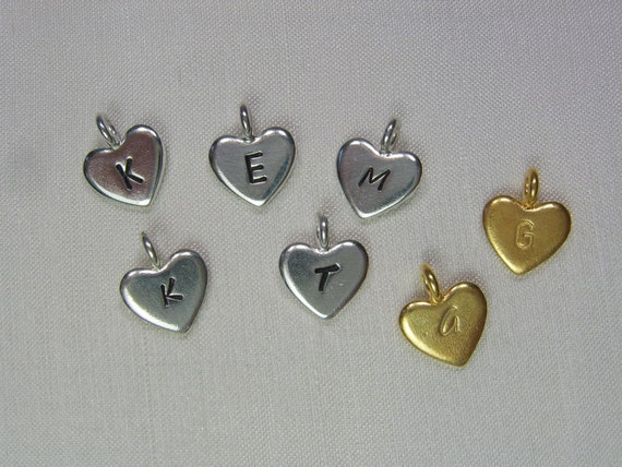 Single Hand Stamped Heart Charm - Fine Silver or Gold Vermeil - Add to Initial Necklace or Bracelet from MesmericJewelry