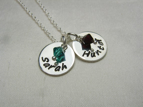 Mother's / Couple's Name Birthstone Necklace by ...