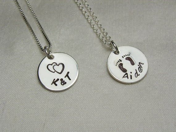 Mothers Necklace Personalized Jewelry Initial Necklace Monogram Necklace Custom Name Necklace Personalized Necklace Hand Stamped Jewelry