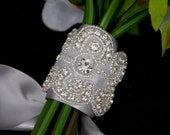 Crystal Bouquet Wrap, flower wrap,bouquet charm,wedding brooch bouquet,beaded bouquet ribbon