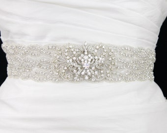 Crystal beaded bridal sash belt- wedding sash
