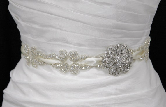 Crystal bridal sash-reserved for Ashley-no brooch