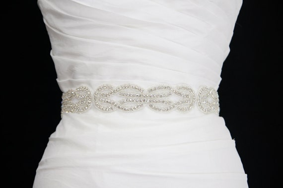 Crystal Bridal Sash- Art Deco