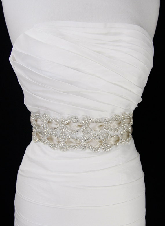 Champagne Bridal Sash,bridal sash, bridal accessories,beaded belt, wedding belt,Vintage wedding,dress belt,rhinestone belt,bridal belt