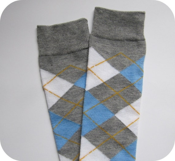 Gray with White and Blue Argyle Leg and Arm Warmers