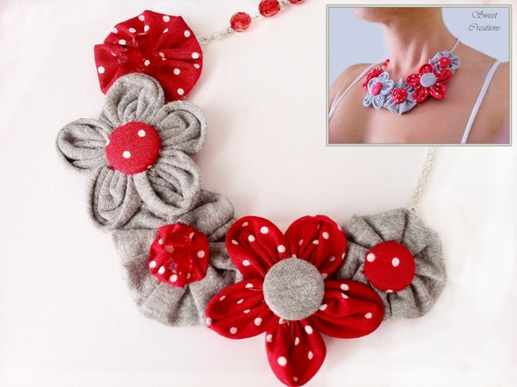 Beautifully handcrafted , Fabric Flower Bib Necklace