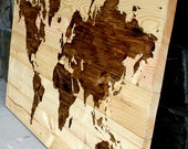 "Rustic Wood World Map Wall Art 21"" x 31"""
