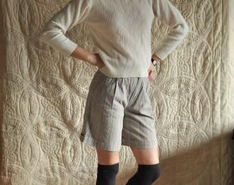 Barbara: Grey Highwaisted Shorts, multi color stripes.