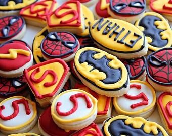Super Hero Logo Cookies - 3 dozen Mini Cookies