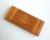 SALE - Vintage Tooled Leather Souvenir Wallet