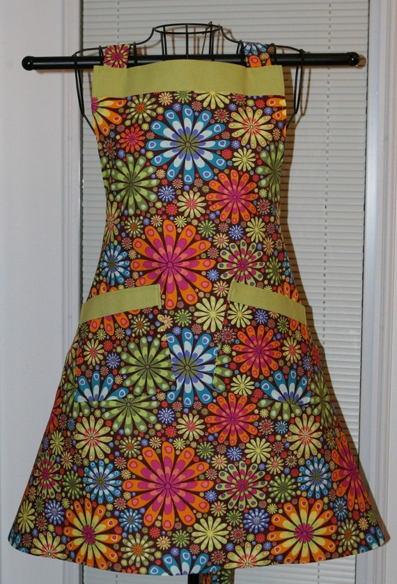 Ladies Apron Flower Power in Bloom Ready to Ship