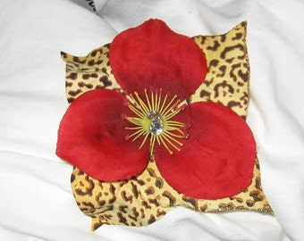 Red/Leopard hair flower clip