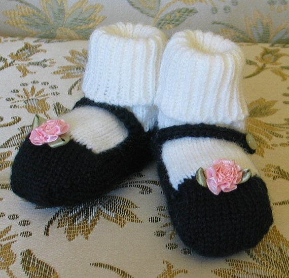 Free Knitting Patterns For Hooded Scarves : Mary Jane Baby Booties Machine Knitting Pattern by GoslingKnits