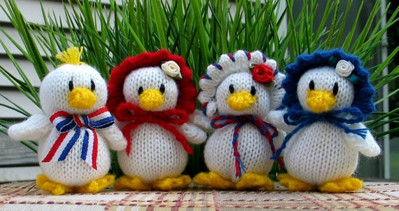Quartet of Patriotic Little Knitted Ducklings - Set of 4 - Reserved