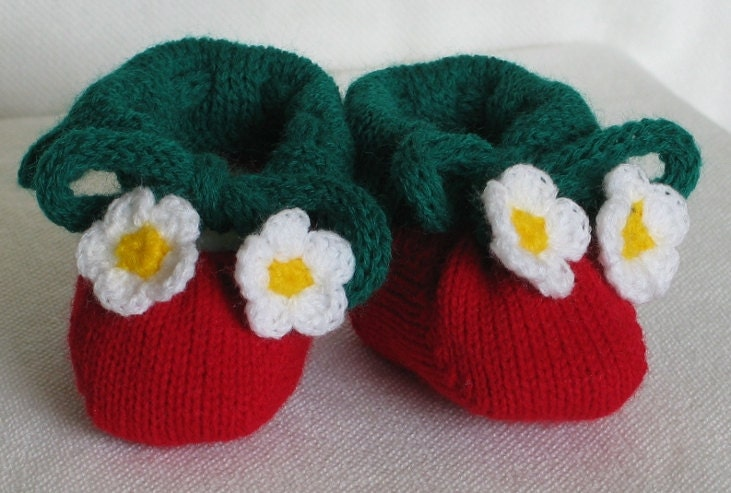 Free Knitting Patterns For Hooded Scarves : Strawberry Baby Booties Machine Knitting Pattern by GoslingKnits