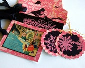 6 Christmas Gift Tags, Large & XL ART DECO Village, Birds, and Snowflakes