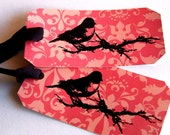 2 Large Christmas Bird Gift Tags, Embossed on Pink Damask, Art Deco
