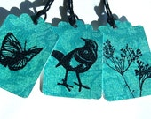 Trio of Aqua Damask Birds 'n Bees Gift Tags