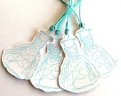 "4 Aqua ""Party Dress"" Gift Tags, for Wedding, Shower, or Graduation"