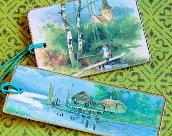 2 Large English Landscape Gift Tags