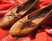 Vintage Leather Huaraches Shoes Devon Park Mexico Size 10